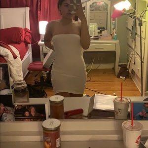 Plain white strapless dress